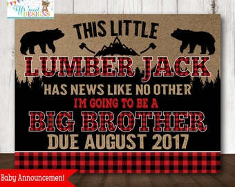 Lumberjack Pregnancy Announcement  - Chalkboard Poster Printable -   - Pregnancy Reveal Photo Prop - Expecting Sign - Big Brother