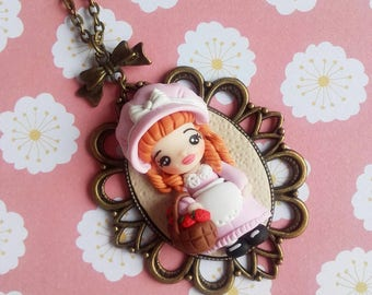 Necklace Country Doll strawberry polymer clay fresas fraise fille shabby chic argile polymère