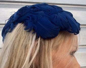 HOMBERGERS Vintage Blue Feather Fascinator Hat