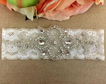 Wedding Garter - Bridal Garter - Crystal Rhinestone Garter on Ivory Lace