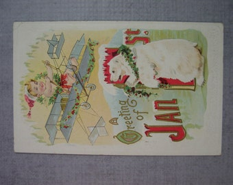 Embossed New Years Greetings Postcard baby Flying a Plane Polar Bear