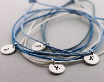 Pendant LETTER 10mm 925 silver, initials, letter charm, hempband, bracelet, font, personalized, friendship ribbon