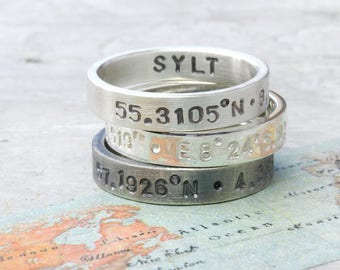 925 silver ring coordinates, hand stamped with coordinates, text, band ring personalized, with font, coordinates