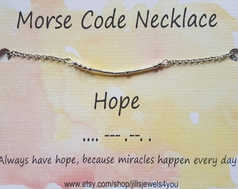 Hope Morse Code Necklace, Inspirational Necklace, Morse Code Jewelry, Hope Necklace, Infertility Necklace, Adoption Gift, Sympathy Gift