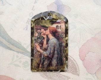 Woman with Roses pendant, Waterhouse pendant, woman in the garden, jewelry components, resin pendant