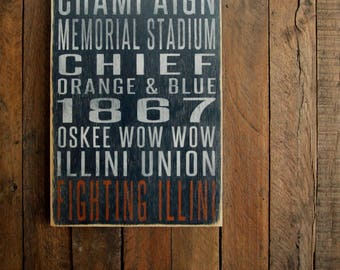 University of Illinois Fighting Illini Distressed Wood Sign--Great Father's Day Gift!