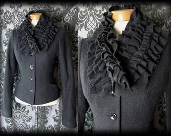 Goth Dark Grey Frilled High Neck FIENDISH Fitted Jacket 8 10 Victorian Dramatic