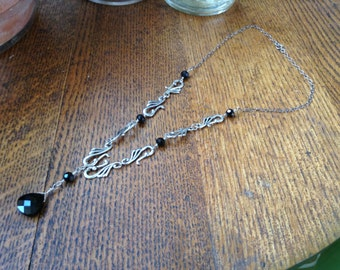 Handcrafted sterling and black crystal Necklace