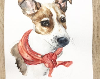 Custom pet portrait, watercolor, dog cat portraits, custom dog portrait, pet portrait made to order, artwork by Ninja Heevel
