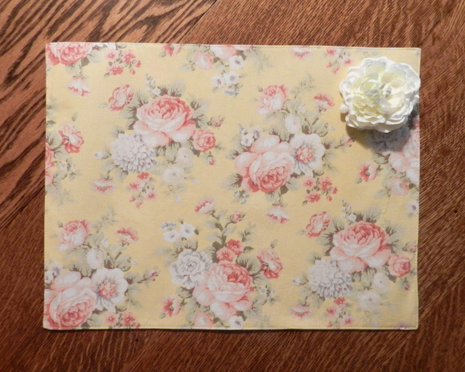Floral Placemats Shabby Chic Placemats Green Placemats