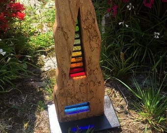 Grattacielo -Stained Glass Wood Sculpture