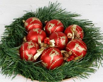 Vintage Red & Gold Reindeer Christmas Balls- Set of Eight