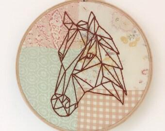 Embroidery Hoop Art - Geometric Horse on Vintage Fabric