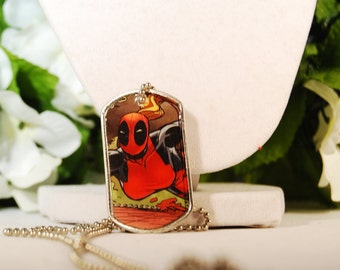 Lady Deadpool Dog Tag Necklace
