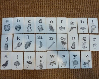 ABC Alphabet Flash Card Flashcard Vintage Flashcards Black White Set Lot (#276)