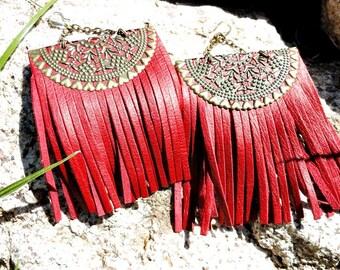 Summer Outdoors Summer Party Fringe Earrings Tassel Leather Earrings Boho Earrings Red Leather Earrings  Sterling Silver Earring Hook