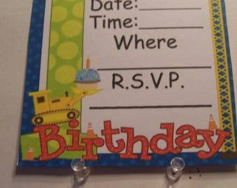 1st Birthday Construction theme invitations.  Set of 8, no envelopes 5x7
