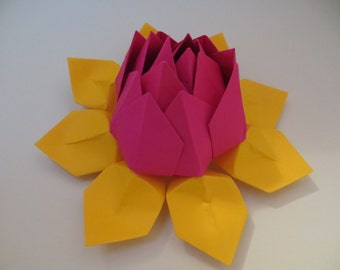 Origami Lotus Flower - bright pink and yellow