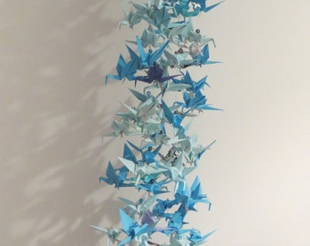 Origami Cranes - shades of blue