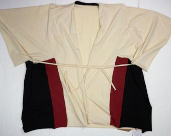 kimono-style jacket in organic cotton with inserts and laces