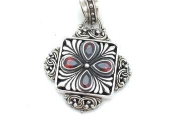 Sterling Silver and Garnet Bali Pendant