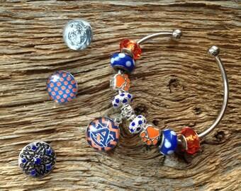 Auburn Tigers interchangeable snap bracelet: Auburn Tigers charm bracelet, Auburn war eagle jewelry, snap chunk bracelet, Auburn jewelry