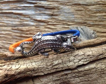 Florida Gators wrapped bracelet with alligator: blue and orange thread wrapped cuff with alligator, Gators jewelry, UF Gators, gators bangle