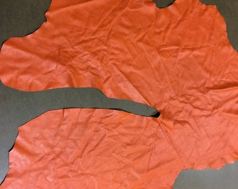 Italian Lambskin Leather lamb Skin Hide Orange - 5 Sq.Ft  (S) 2 oz