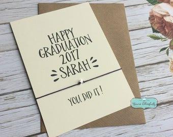 Happy Graduation 2017 Friendship Bracelet, Personalised Sterling Silver Graduation 2017, Wish Bracelet, Silver Graduation Gift, You Did It