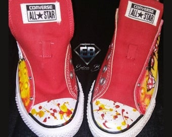 Custom Airbrushed Hand Painted Mickey & Minnie Red Low Top Converse