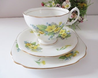 Bell  vintage 1930's Primrose tea trio, Spring flowers, Primrose teacup, Primroses, Bell china, Yellow teacup
