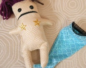 Squid Purple Haired Quirky Mermaid Doll with Detachable Tail