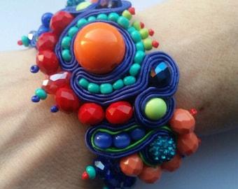 Soutache Bracelet, Soutache Upcycled Bracelet, Soutache Hand Embroidered Bracelet, Soutache Cuff, Soutache Multi-Coloured Bracelet