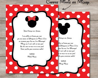You're Going to Disney Letter, Mickey or Minnie Mouse Disney Trip Announcement Letter, Editable Mickey Minnie Mouse Disney Letter