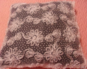 Pretty Princess Pillow in Black and White Polka Dot and Floral Embellishments Overlay
