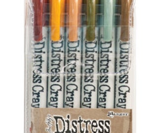 New! Ranger Tim Holtz Distress Crayons - Set # 10 - Water Reactive Pigments
