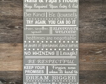 CUSTOM Family Rules Sign House Rules Wood Sign Family Sign Home Decor In This House We Do Sign Housewarming Gift for New Home Personalized