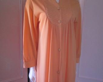 1960s Pale Tangerine Nylon Full-Length Robe, Size M