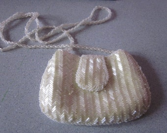 """1970s Tiny Ivory Glass Beaded Evening Bag, """"Made in Hong Kong"""""""