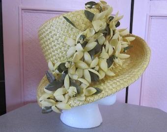 "1960s High Crown Yellow Straw Hat by ""Mr. Josephs, New York"""