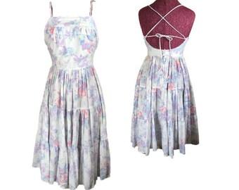Vintage 80s Sundress | Pastel Floral Print | Spaghetti Straps | Criss Cross Tie Back | Full Skirt | Bill Berman