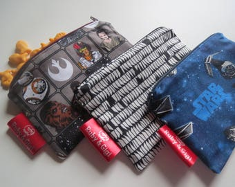 Reusable Star wars snack bag set of 3 zippered pouches, eco friendly - lined with Rip Stop Nylon-Ready to Ship!