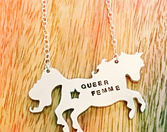Hand stamped mixed metal unicorn necklace; handmade; sterling silver; aluminum; Queer Femme; customized; name; date; choose your phrase