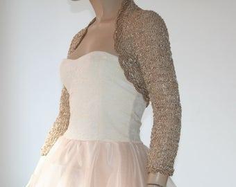 Wedding Bridal Bolero Shrug Lace Crochet Knit  Shrug Boleros Beige Gold 3/4 Sleeve