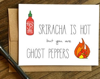 Valentines Day Card - Funny Love Card - Anniversary Card - Card for Husband - Card for Boyfriend - Ghost Peppers.