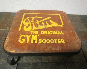 vintage TITUS GYM SCOOTER, The original gym scooter, wood top with 4 casters