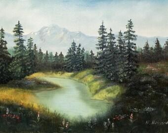 "Oil Painting cancas Landscape Mountain lake in Сolorado Impressionism painting 24""x 18"" by Nataliia Novosad original artwork"