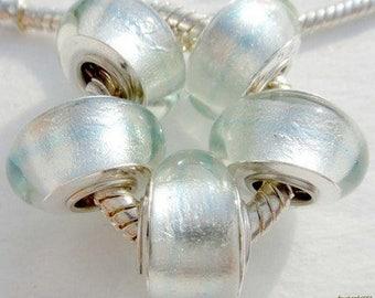 White Silver Foil Murano Glass Bead .925 Silver Core Fits All European Charm Bracelet Snake Chain Bracelet BettyGiftStore