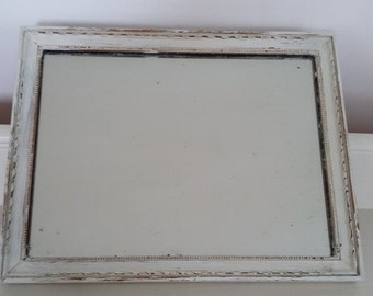 Vintage Painted Shabby Chic Mirror in Farrow and Ball Clunch