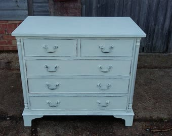 Vintage Painted Shabby Chic Chest of Drawers Bedroom Cream